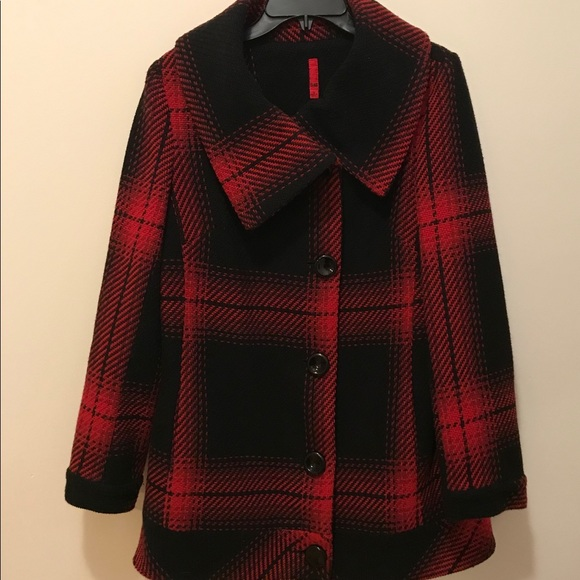 Red and black plaid blazer women's